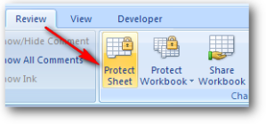 protect sheet ms excel